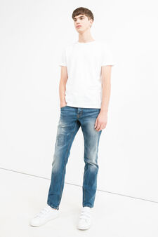 Slim-fit, worn-effect jeans with whiskering, Dark Wash, hi-res
