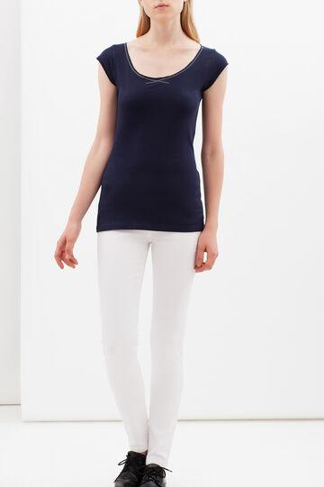 T-shirt scollo rotondo, Blu navy, hi-res