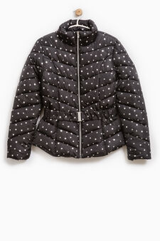 Down jacket with high neck and star pattern, Black, hi-res