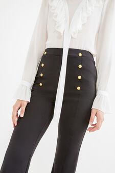 Pantaloni stretch vita alta con bottoni, Nero, hi-res