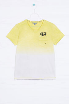 100% cotton degradé T-shirt., White/Yellow, hi-res