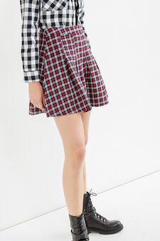 Check patterned skirt in 100% cotton, Blue/Red, hi-res