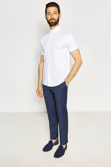 Regular-fit casual shirt with striped weave