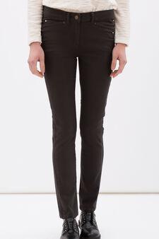 Regular fit stretch cotton trousers, Dark Grey, hi-res