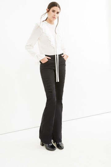Solid colour stretch jeans with rips, Black, hi-res