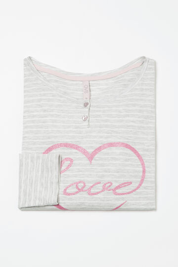 Curvy stretch cotton pyjama top, White/Grey, hi-res