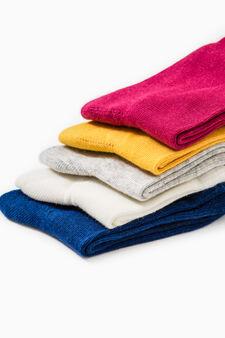 Set cinque paia calze cotone stretch, Giallo, hi-res