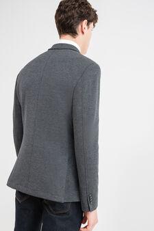 Viscose blend blazer with lapels, Dark Grey, hi-res