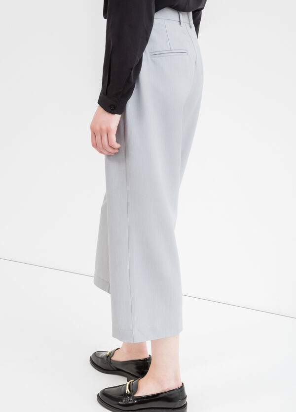 Crop trousers in stretch viscose | OVS
