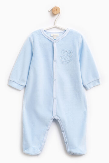Embroidered sleep suit with feet, Light Blue, hi-res