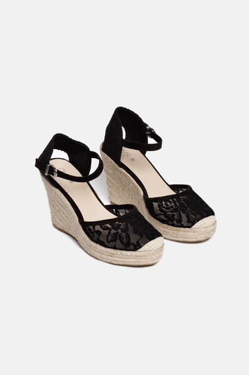 Sandals with lacework upper, Black, hi-res