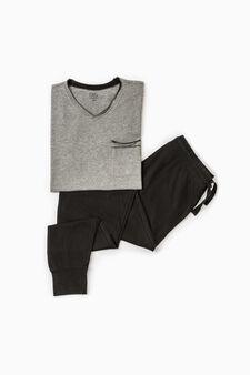 Pyjamas with raw cut top, Grey Marl, hi-res