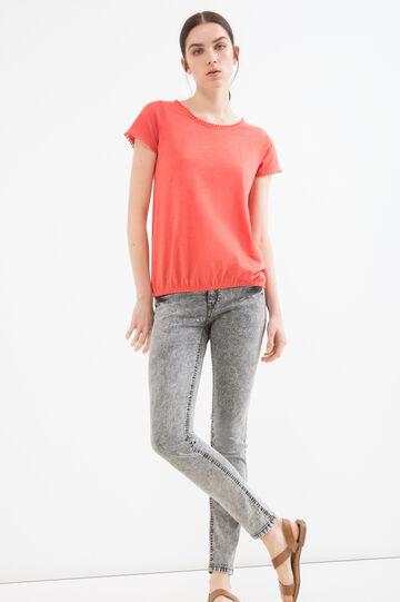 T-shirt girocollo in puro cotone, Arancione scuro, hi-res