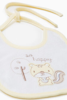 Two-pack bibs with patches and embroidery., Yellow, hi-res