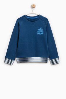 100% cotton printed sweatshirt, Blue, hi-res