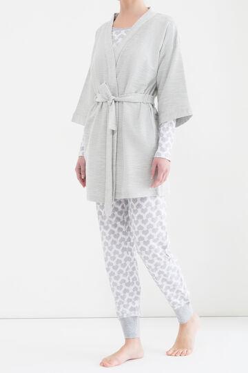 Solid colour cotton blend robe, Grey, hi-res