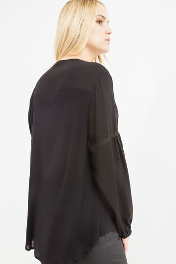 Curvy blouse in cotton and viscose with tassels, Black, hi-res