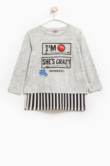 T-shirt with lettering print and long sleeves, Grey Marl, hi-res