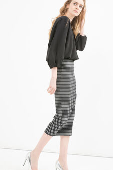 Stretch cotton striped pencil skirt, White/Black, hi-res