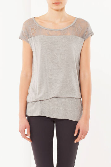 Embroidered T-shirt, Grey Marl, hi-res