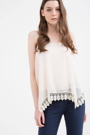 Solid colour top with openwork insert, Light Beige, hi-res