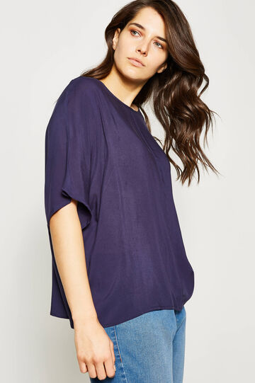 Curvy blouse with elbow-length sleeves, Navy Blue, hi-res