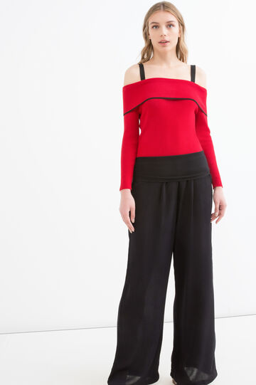 Wide trousers in 100% viscose, Black, hi-res