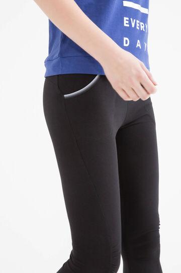 Stretch cotton gym pants, Black, hi-res
