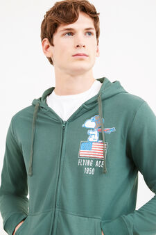Cotton blend hoodie with Peanuts print, Light Green, hi-res