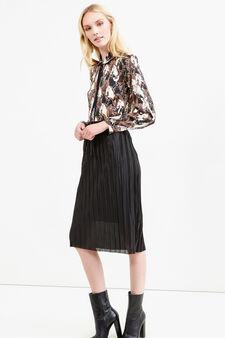 Pleated midi skirt, Black, hi-res
