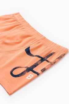 Solid colour stretch cotton boxer shorts, Orange, hi-res