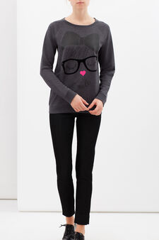 Cotton blend sweatshirt with print, Dark Grey, hi-res