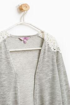 Viscose blend cardigan with lace, Grey Marl, hi-res