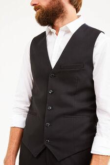 V-neck custom-fit waistcoat, Black, hi-res