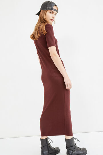 Long ribbed stretch dress, Red, hi-res