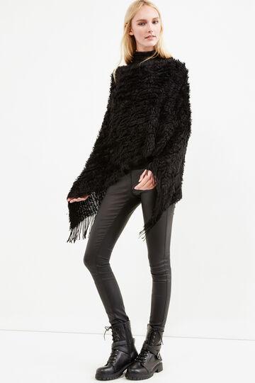 Knitted fur cape, Black, hi-res