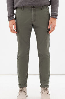 Skinny fit stretch cargo trousers, Army Green, hi-res