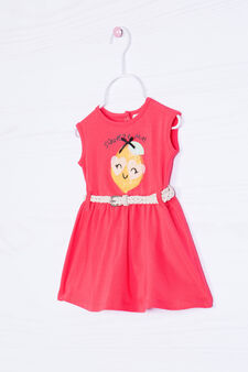 Stretch cotton dress with belt, Red, hi-res