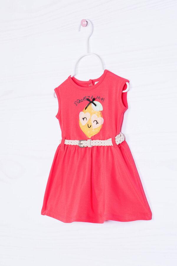 Stretch cotton dress with belt | OVS