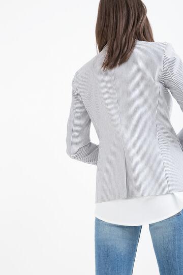 Stretch blazer in striped cotton, White/Grey, hi-res
