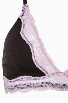 Stretch cotton triangle bra, Black/Pink, hi-res