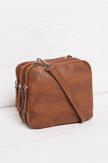 Textured shoulder bag, Leather Brown, hi-res