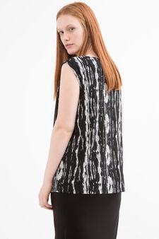 Curvy viscose sleeveless dress, Black/White, hi-res