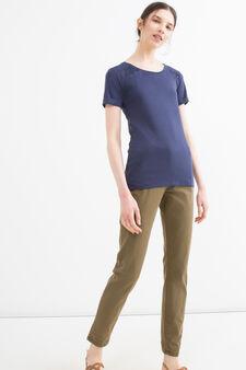T-shirt in puro cotone tinta unita, Blu, hi-res