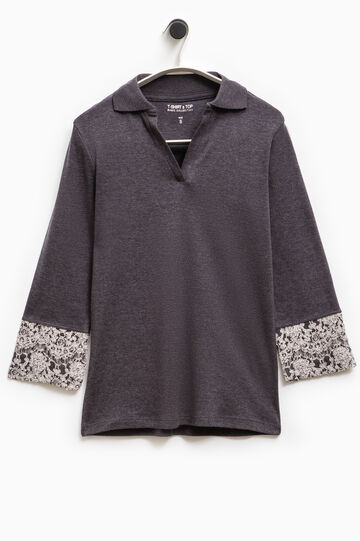 Smart Basic polo shirt with lace at the cuffs, Grey, hi-res