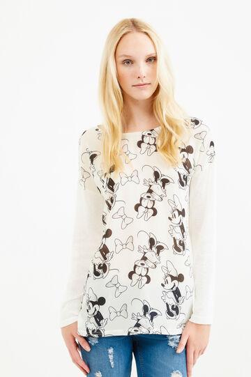 Viscose T-shirt with maxi Tinkerbell print, Beige, hi-res