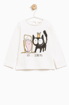 T-shirt with teardrop fastening on the back, Milky White, hi-res