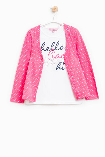 Patterned cardigan with faux-layered T-shirt, Fuchsia, hi-res