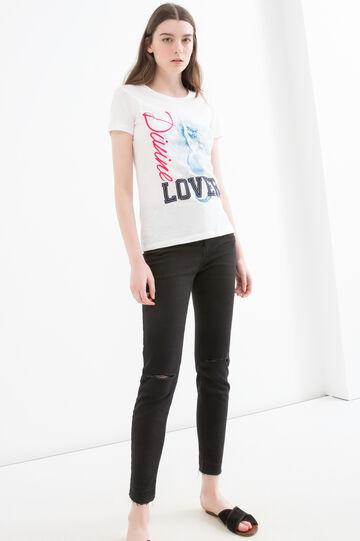 T-shirt stampa puro cotone, Bianco latte, hi-res
