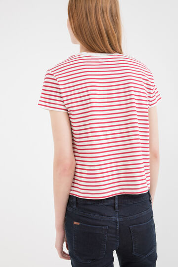 Striped patterned cotton crop T-shirt, White, hi-res